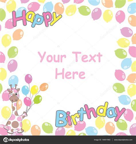 cornici compleanno scheda di compleanno con cornice giraffa e
