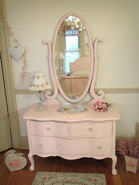 Shabby Chic Oak Bedroom Furniture pink antique dresser with oval harp mirror
