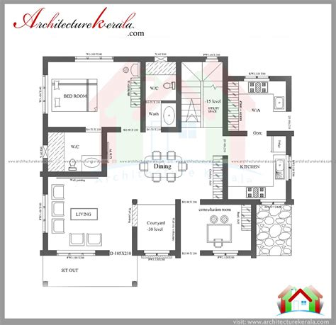 three bedroom house plan and elevation in 2000 sq ft