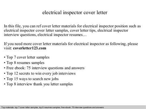 electrical cover letter electrical inspector cover letter