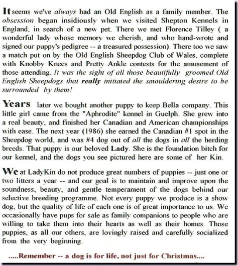 story of sheepdog puppies oes canada ladykin oes