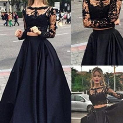 Sweety Open Comfort Gold Nb 52 two pieces prom dress 2016 high quality prom dress black