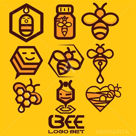 Bees Set by Bee Logo Set 1 Newarta