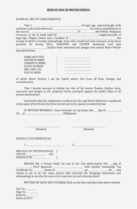 deed of sale template sale deed for car free printable documents