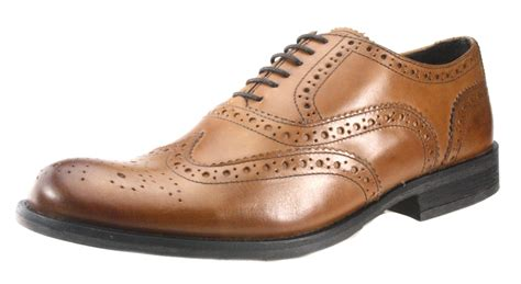 base mens brogue lace up brown leather fomal shoes