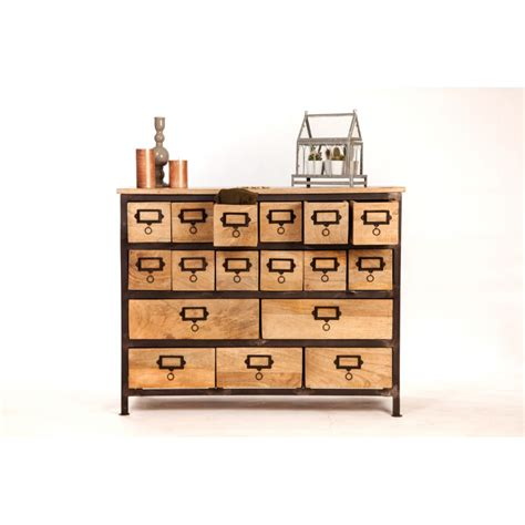 industrial style wood metal multi drawer cabinet   Sweet mango