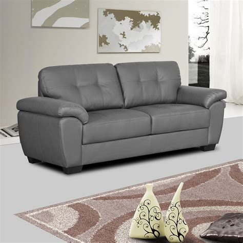 Bradwell Dark Grey Leather Sofa Collection With Tufted Leather Sofa Grey