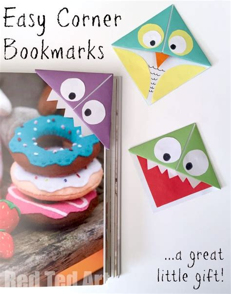 Origami Owl Book - easy origami corner bookmarks turn them into monsters
