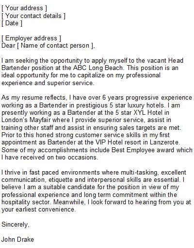 Sample Bartender Covering Letter