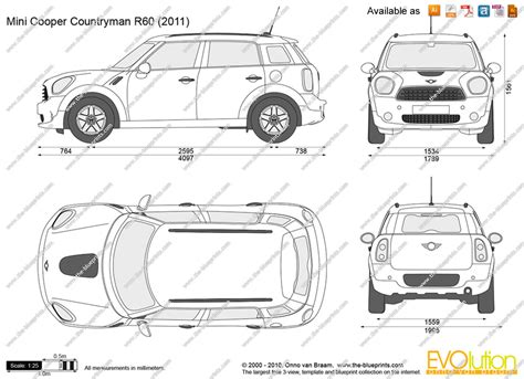 Mini Cooper Countryman Dimensions Mini Cooper Countryman Dimensions Sketch Coloring Page
