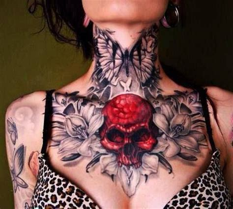 tattoo on chest for female beautiful chest neck piece what was your most painful