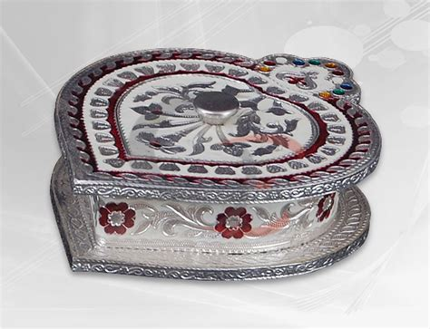 decorative boxes for dry fruits dry fruit box heart shape with silver white minakari