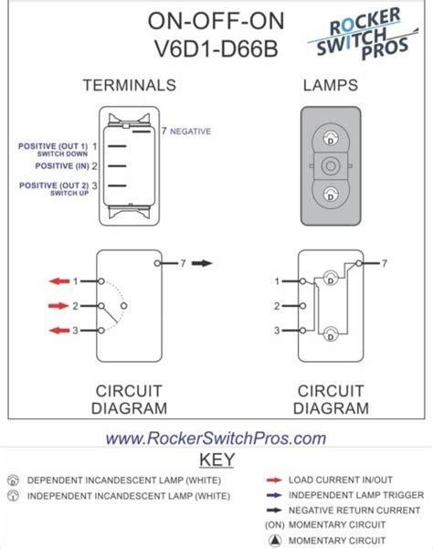 V6d1 Rocker Switch On Off On Spdt 2 Lights Rocker