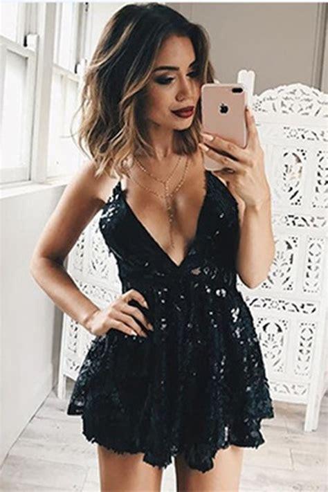 Black V Sexydress black v neckline thin open back clubbing