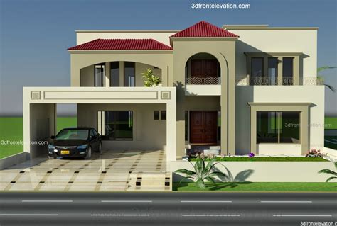 3d front elevation 1 kanal plot house design europen