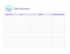 bridal shower gift record template record of gifts received microsoft office template