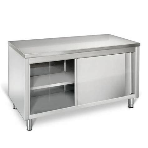 eq asr127 stainless steel prep work table storage cabinet