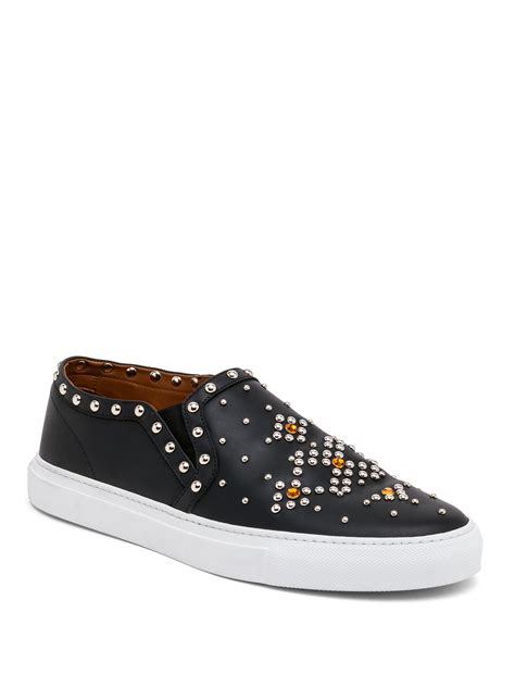 slip on sneakers for lyst givenchy studded leather slip on sneakers in black
