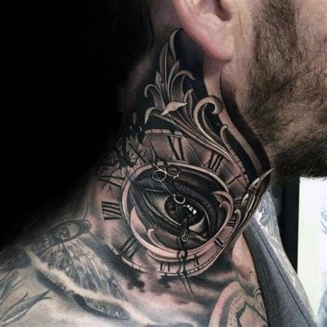 roman numeral neck tattoo with neck of eye and numerals with