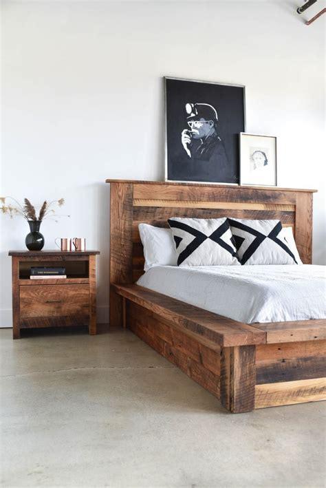 reclaimed wood platform bed wood platform bed diy bed bed