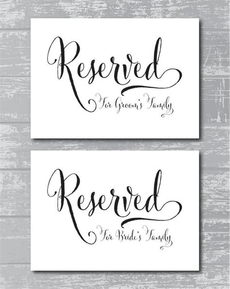 Instant Download Swash Reserved For Family Signs 5x7 Quot Diy Wedding Posters Printable By Wedding Table Signs Template