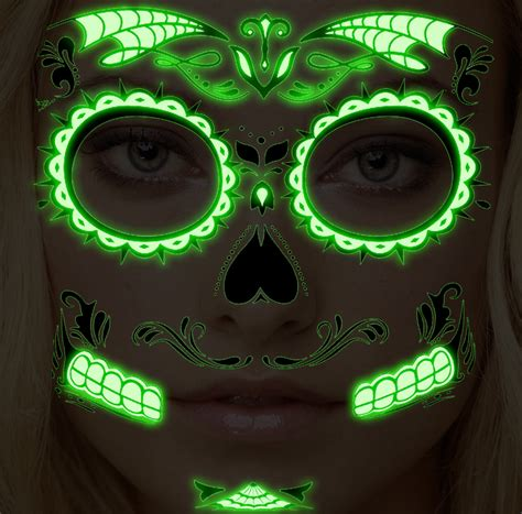 glow in the dark halloween tattoos temporary face tattoo glow in the dark sugar skull