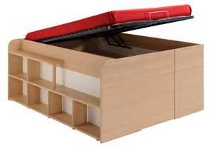 lit coffre en bois 140x200 multiples rangements terre de