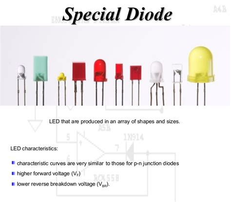 diode sizes working principle diode and special diode