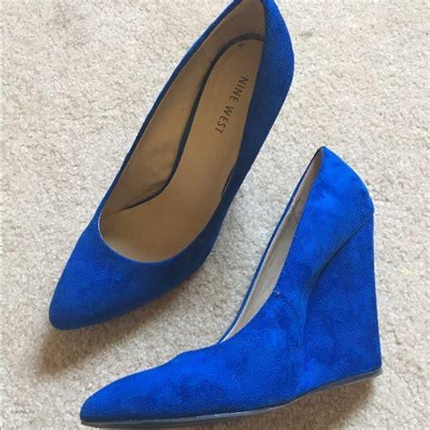 Wedges Brand Nine West 56 nine west shoes royal blue wedge heels size 7