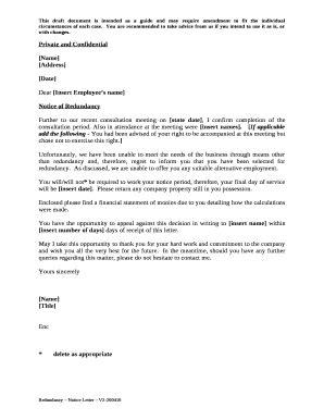 redundancy notice letter template pdffiller
