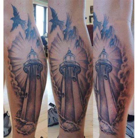 realistic calf lighthouse tattoo by firefly tattoo