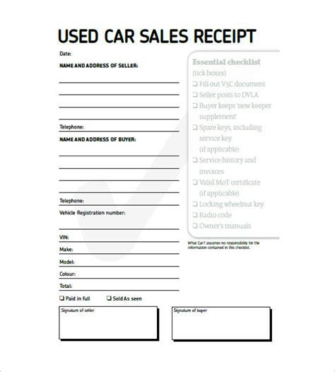 vehicle sale receipt template pdf 13 car invoice template free sle exle format