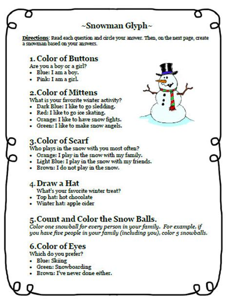 free christmas glyphs for fourth grade fifth grade freebies 12 12 12 and a snowman glyph writing activity