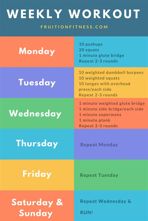 weekly workout plan the get it done weekly workout plan fruition fitness