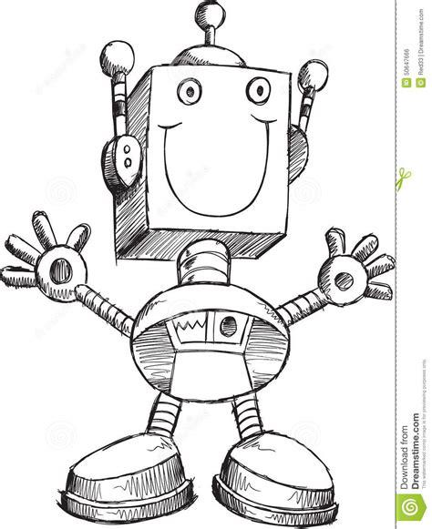doodlebug drawing robot doodle robot vector stock vector image 50647666