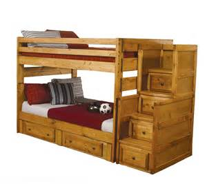 wood bunk bed solid wood wash oak stairs chest 2 storage drawer