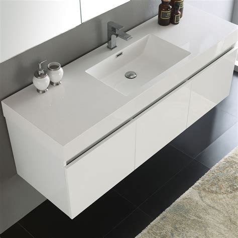 White Vanity Sink by Convenience Boutique Fresca Mezzo 59 Quot White Wall Hung