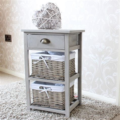 Storage Unit With Wicker Drawers by Vintage Grey Range One Drawer With Two Wicker Baskets