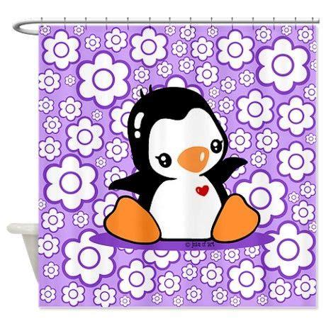 penguin bathroom decor cute penguin shower curtain on