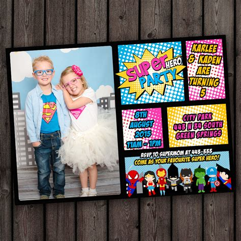 Promo Custom Superman 3 invitation birthday invitation supergirl