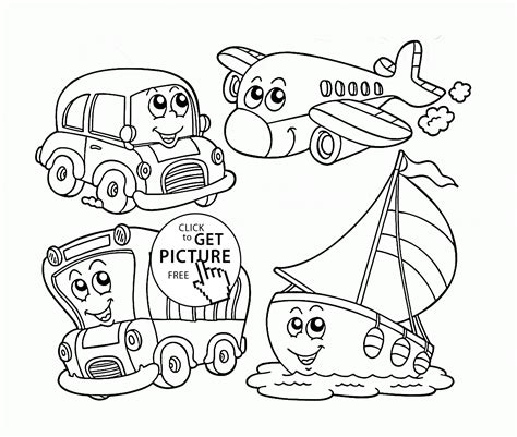coloring pages transportation vehicles cute cartoon transportation coloring page for preschoolers