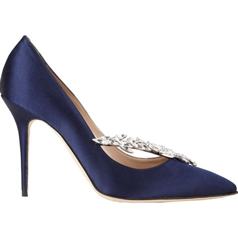 Manolo Blahnik Poppy Heels by Lyst Manolo Blahnik Nadira Jeweled Pumps In Blue