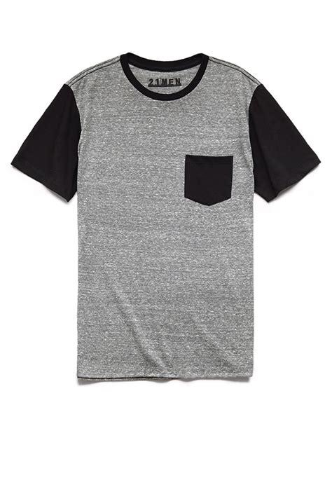 Kemeja Grey Pocket Black 21men colorblocked pocket in black for grey black lyst
