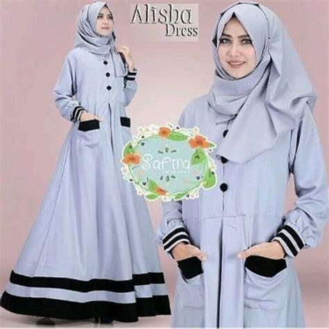 jual alisha dress gamis hitam dress murah baju