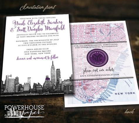 new york city skyline wedding invitations new york city skyline and map wedding invitation 2533845