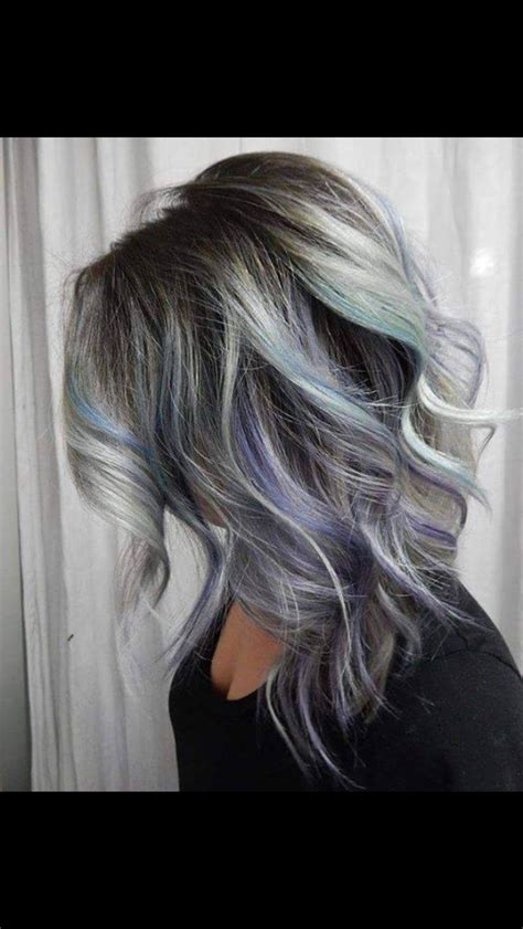 hilite for grey hair styles grey ombr 233 with purple and teal highlight hair