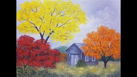 acrylic painting tutorial landscapes easy autumn tree landscape with barn acrylic painting