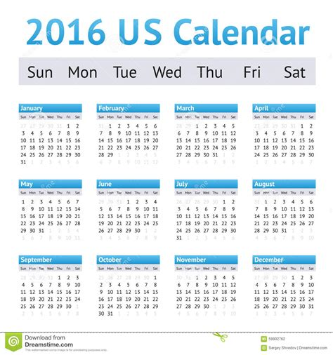 Us Calendar 2016 2016 Us American Calendar Week Starts On Sunday