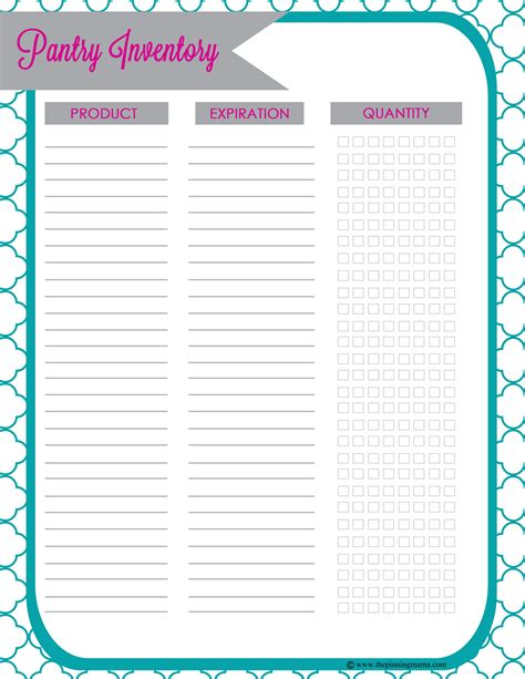 Home Pantry Inventory by Pantry Inventory Freebie The Pinning