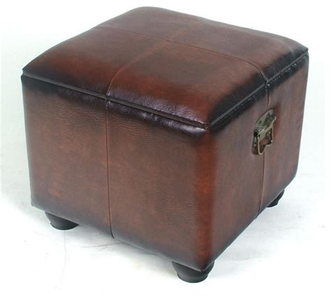 Square Brown Leather Ottoman Faux Leather Square Brown Ottoman Contemporary Footstools And Ottomans By Shopladder